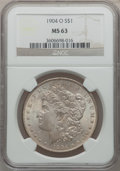 Morgan Dollars: , 1904-O $1 MS63 NGC. NGC Census: (34501/76009). PCGS Population(38273/57862). Mintage: 3,720,000. Numismedia Wsl. Price for...