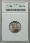 Liberty Nickels: , 1900 5C MS63 ANACS. NGC Census: (150/507). PCGS Population(192/530). Mintage: 27,255,996. Numismedia Wsl. Price for proble...