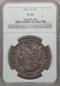 Morgan Dollars: , 1891-CC $1 VF30 NGC. NGC Census: (32/8024). PCGS Population(45/13643). Mintage: 1,618,000. Numismedia Wsl. Price for probl...