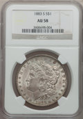 Morgan Dollars: , 1883-S $1 AU58 NGC. NGC Census: (660/1663). PCGS Population(458/2621). Mintage: 6,250,000. Numismedia Wsl. Price for probl...