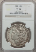 Morgan Dollars: , 1888-S $1 VF25 NGC. NGC Census: (7/3749). PCGS Population(13/6433). Mintage: 657,000. Numismedia Wsl. Price for problemfr...