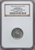 Civil War Patriotics, 1864 Liberty-Union Shield, Civil War Token MS63 NGC. Fuld-46/339e,R.8. Broadstruck....