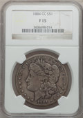 Morgan Dollars: , 1884-CC $1 Fine 15 NGC. NGC Census: (4/20808). PCGS Population(3/39551). Mintage: 1,136,000. Numismedia Wsl. Price for pro...
