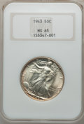 Walking Liberty Half Dollars: , 1943 50C MS65 NGC. NGC Census: (4607/3364). PCGS Population(7226/3302). Mintage: 53,190,000. Numismedia Wsl. Price for pro...