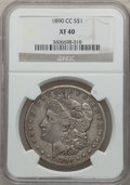 Morgan Dollars: , 1890-CC $1 XF40 NGC. NGC Census: (81/5340). PCGS Population(154/9645). Mintage: 2,309,041. Numismedia Wsl. Price for probl...