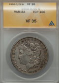Morgan Dollars, 1900-O/CC $1 VF35 ANACS. Vam-8A Top-100. PCGS Population (24/5188).NGC Census: (14/2410). Numismedia Wsl. Price for prob...