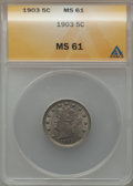 Liberty Nickels: , 1903 5C MS61 ANACS. NGC Census: (21/706). PCGS Population (4/959).Mintage: 28,006,724. Numismedia Wsl. Price for problem f...