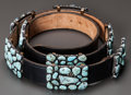 American Indian Art:Jewelry and Silverwork, A NAVAJO SILVER AND TURQUOISE CONCHO BELT. Fred Guerro. c. 1975...