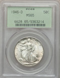 Walking Liberty Half Dollars: , 1946-D 50C MS65 PCGS. PCGS Population (8991/1874). NGC Census:(6333/2261). Mintage: 2,151,000. Numismedia Wsl. Price for p...