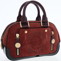 Louis Vuitton Brown Havane Suede Stamped Trunk Bowler PM Bag