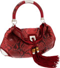 Luxury Accessories:Bags, Gucci Red Python Large Indy Hobo Bag with Shoulder Strap . ...