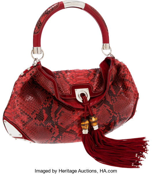 5848ab6dc Luxury Accessories:Bags, Gucci Red Python Large Indy Hobo Bag with Shoulder  Strap .