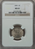 Liberty Nickels, 1899 5C MS63 NGC. NGC Census: (128/447). PCGS Population (169/582).Mintage: 26,029,032. Numismedia Wsl. Price for problem ...