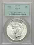 Peace Dollars: , 1922 $1 MS64 PCGS. PCGS Population (41098/6324). NGC Census:(78858/15719). Mintage: 51,737,000. Numismedia Wsl. Price for ...