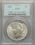 Peace Dollars: , 1925 $1 MS64 PCGS. PCGS Population (16893/8477). NGC Census:(20667/11724). Mintage: 10,198,000. Numismedia Wsl. Price for ...