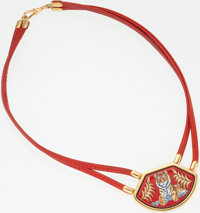 Hermes Rouge Vif Calf Box Leather and Enamel Tiger Necklace