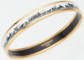 Luxury Accessories:Accessories, Hermes Gold Bracelet with Black and White Enamel Design. ...