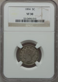 Liberty Nickels: , 1894 5C VF30 NGC. NGC Census: (4/280). PCGS Population (12/446).Mintage: 5,413,132. Numismedia Wsl. Price for problem free...