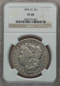 Morgan Dollars: , 1890-CC $1 VF20 NGC. NGC Census: (65/5613). PCGS Population(98/10049). Mintage: 2,309,041. Numismedia Wsl. Price for probl...