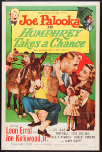 "Joe Palooka in Humphrey Takes a Chance (Monogram, 1950). One Sheet (27"" X 41"") & Lobby Card Set of 8 (11&q..."