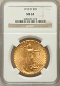 Saint-Gaudens Double Eagles: , 1910-D $20 MS63 NGC. NGC Census: (2084/2218). PCGS Population(1664/3049). Mintage: 429,000. Numismedia Wsl. Price for prob...