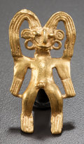 Pre-Columbian:Metal/Gold, A GOLD FIGURAL PENDANT . c. 700 - 900 AD...