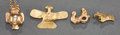 Pre-Columbian:Metal/Gold, FOUR TINY GOLD PENDANTS. c. 400 - 1000 AD... (Total: 4 Items)