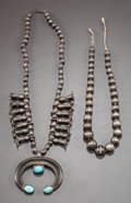 American Indian Art:Jewelry and Silverwork, TWO NAVAJO SILVER NECKLACES. c. 1915... (Total: 2 )