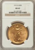 Saint-Gaudens Double Eagles: , 1913-D $20 MS63 NGC. NGC Census: (1093/995). PCGS Population(1227/1642). Mintage: 393,500. Numismedia Wsl. Price for probl...