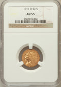 Indian Quarter Eagles: , 1911-D $2 1/2 AU55 NGC. NGC Census: (473/4468). PCGS Population(514/1891). Mintage: 55,600. Numismedia Wsl. Price for prob...