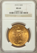 Saint-Gaudens Double Eagles: , 1915-S $20 MS64 NGC. NGC Census: (5532/1772). PCGS Population(4185/2140). Mintage: 567,500. Numismedia Wsl. Price for prob...