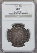 Bust Half Dollars: , 1827 50C Square Base 2 VF35 NGC. NGC Census: (53/1901). PCGSPopulation (108/1722). Mintage: 5,493,400. Numismedia Wsl. Pri...