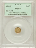 California Fractional Gold: , 1856 50C Liberty Round 50 Cents, BG-434, Low R.4, MS62 PCGS. PCGSPopulation (38/22). NGC Census: (7/3). ...