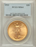 Saint-Gaudens Double Eagles: , 1922 $20 MS64 PCGS. PCGS Population (7280/1247). NGC Census:(7578/486). Mintage: 1,375,500. Numismedia Wsl. Price for prob...