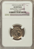 Buffalo Nickels: , 1937-D 5C Three-Legged -- Improperly Cleaned -- NGC Details. AU.NGC Census: (188/3783). PCGS Population (559/2897). Mintag...