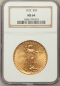 Saint-Gaudens Double Eagles: , 1922 $20 MS64 NGC. NGC Census: (7578/486). PCGS Population(7280/1247). Mintage: 1,375,500. Numismedia Wsl. Price for probl...