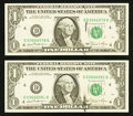 Error Notes:Ink Smears, Fr. 1911-D $1 1981 Federal Reserve Notes. Two Examples. ChoiceCrisp Uncirculated.. ... (Total: 2 notes)
