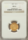 Liberty Quarter Eagles: , 1857 $2 1/2 MS61 NGC. NGC Census: (86/152). PCGS Population(20/79). Mintage: 214,130. Numismedia Wsl. Price for problem fr...