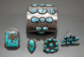 American Indian Art:Jewelry and Silverwork, FIVE NAVAJO SILVER AND TURQUOISE ITEMS. c. 1965... (Total: 5 Items)