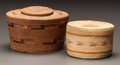 American Indian Art:Baskets, TWO NORTHWEST COAST TWINED LIDDED BASKETS. c. 1900... (Total: 2Items)