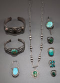 American Indian Art:Jewelry and Silverwork, NINE SOUTHWEST SILVER AND TURQUOISE JEWELRY ITEMS... (Total: 9 )