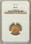 Indian Quarter Eagles: , 1908 $2 1/2 MS61 NGC. NGC Census: (1549/6009). PCGS Population(383/4552). Mintage: 564,800. Numismedia Wsl. Price for prob...