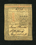 Colonial Notes:Pennsylvania, Pennsylvania October 1, 1773 20s About New. Three bold signaturesand serial number highlight this note which has a horizont...
