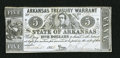Obsoletes By State:Arkansas, Little Rock- AR - Arkansas Treasury Warrant $5 March 28, 1862 Cr. 50. Light wallet staining is noticed on the back, with th...