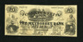 """Obsoletes By State:Rhode Island, Providence, RI- Weybosset Bank $5 Apr. 1, 1861. This example has been stamped """"Counterfeit Webybosset Bank"""" on both sides of..."""