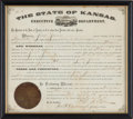 Western Expansion, Jesse James: Original 1875-Dated Extradition Request Document Issued by the Governor of Kansas to the Governor of Missouri, th...