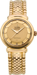 Timepieces:Wristwatch, Omega 18k Rose Gold Constellation With Heavy Gold Omega Bracelet,circa 1950's. ...