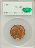 Two Cent Pieces: , 1864 2C Large Motto MS65 Red and Brown PCGS. CAC. PCGS Population(303/11). NGC Census: (575/97). Mintage: 19,847,500. Numi...