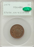Two Cent Pieces: , 1870 2C MS64 Brown PCGS. CAC. PCGS Population (22/1). NGC Census:(36/15). Mintage: 860,250. Numismedia Wsl. Price for prob...