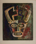 Books:Prints & Leaves, Ralph Peplow. Original Signed and Numbered Color Print Entitled,Ox Mask. Measures approx. 16 x 13 inches. Tonin...